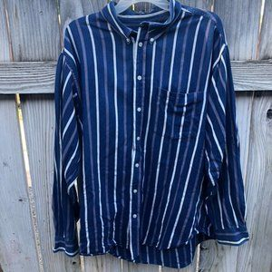 John Ashford XL Blue & White Striped Button Shirt